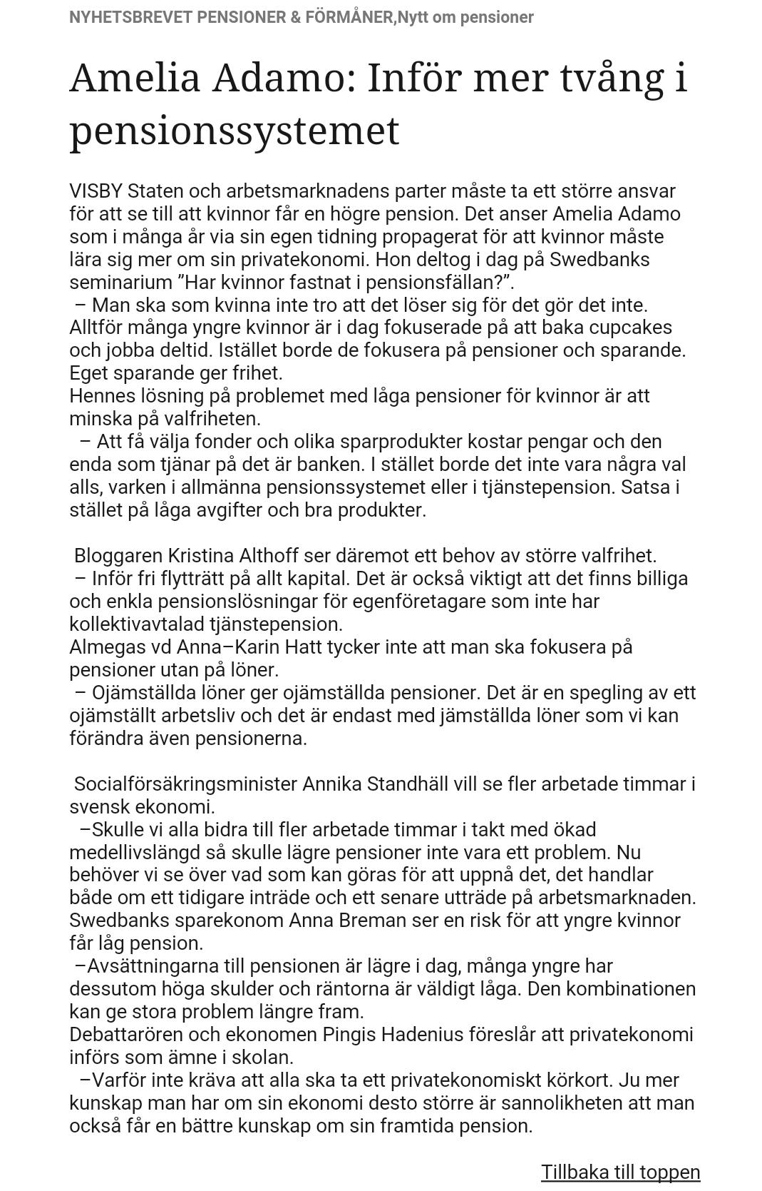 2016-07: Pensioner & Förmåner Nyhetsbrev